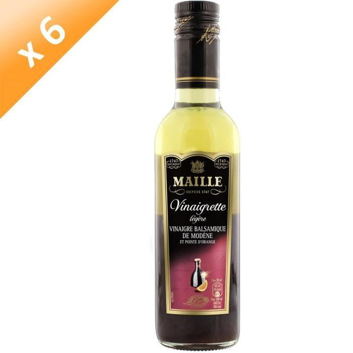 MAILLE Vinaigre Balsamique de Modène Aromatisé Orange Amère - Lot de 6x 36 cl