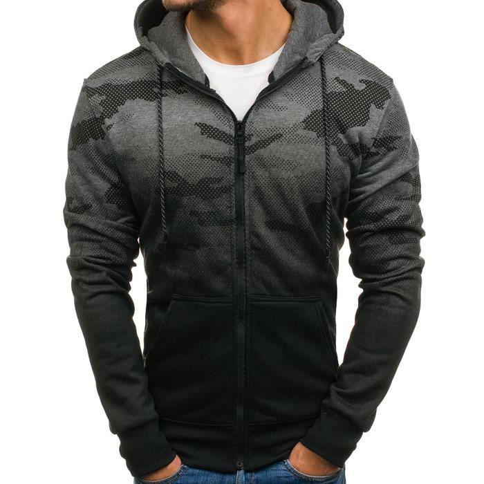 Veste à capuche pour homme Veste camo M462 gris