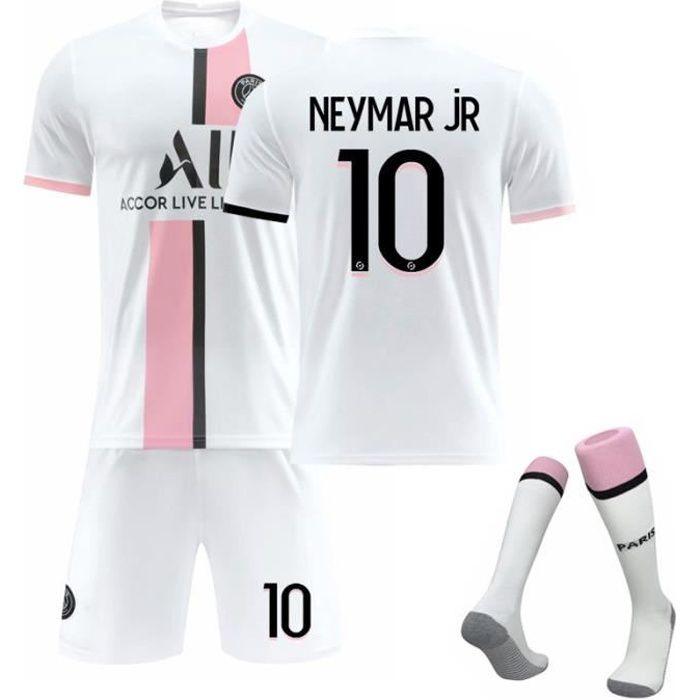 Maillot de Football Une Collection de Paris-Neymar 10 Maillot Exterieur Blanc Tenue + Chaussette Tissu Respirant pour Enfant
