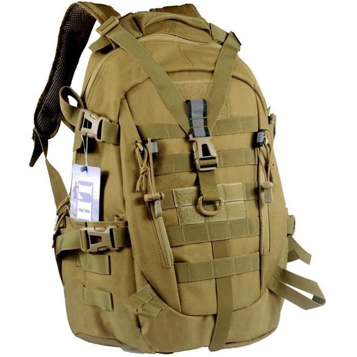 LHI Sac à dos tactique 35L pour homme, Molle Assaut Pack, sacs à dos pour ordinateur portable pour voyage trekking, Randonnée Noir……