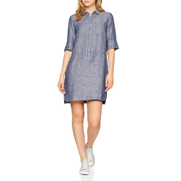 Opus Willmar Linen Robe, Bleu (Simply Blue 6058), 36 (Taille Fabricant: 34) Femme - 226464138-O9009-6058
