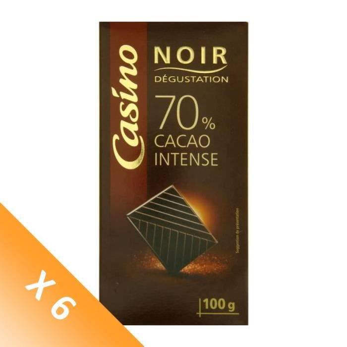 [LOT DE 6] Chocolat noir Dégustation - 70% cacao intense - 100 g