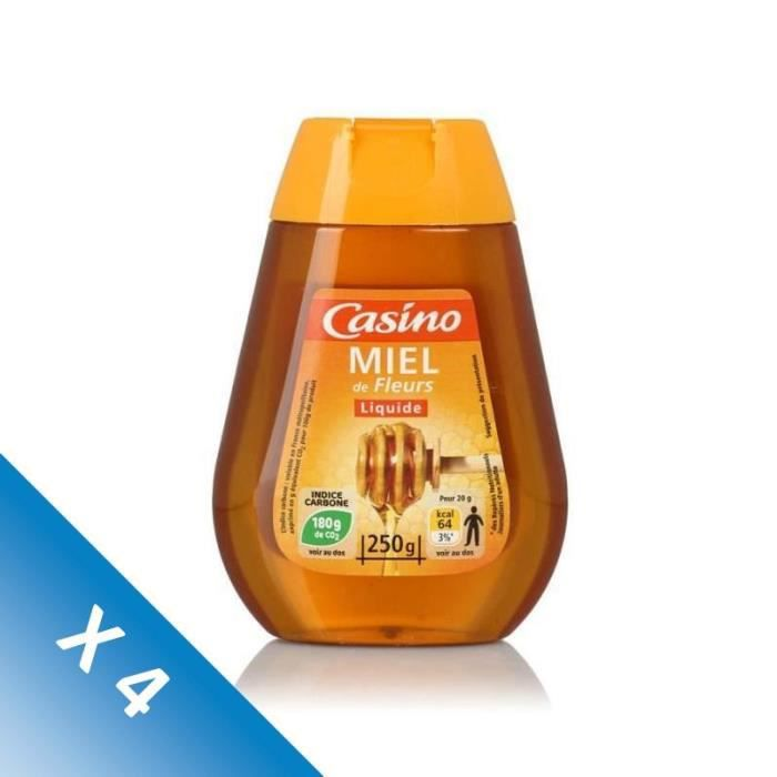 [LOT DE 4] CASINO Miel de Fleurs Liquide - 250 g