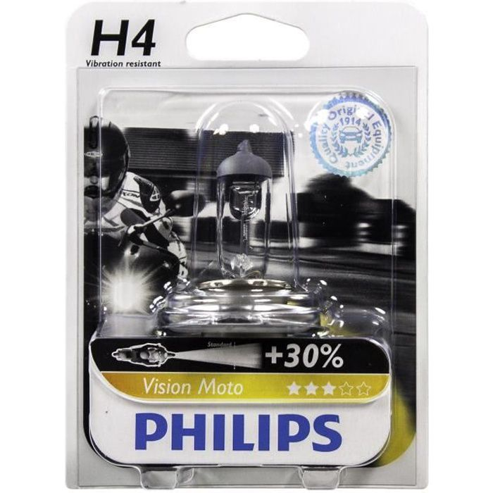 PHILIPS Ampoule halogène Moto Vision H4 - 12V - 60/55W