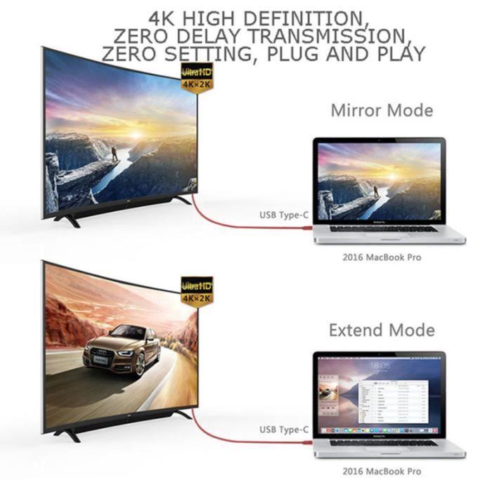 1PC adaptateur USB ligne d'affichage d'écran multifonction durable de type câble de connexion SWITCH - HUB ETHERNET - INJECTEUR