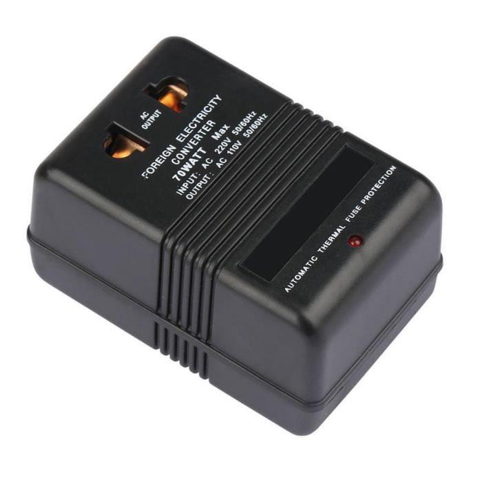 Voyage adaptateur convertisseur de tension 220 V à 110 V Convertisseur abaisseur 70W onduleur électrique Convertisseur Noir