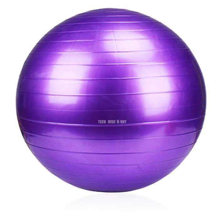 TD® 65cm exercice yoga swiss ball anti-éclatement+ violet ,Exercice de pompe à air de boule de yoga d'aérobic de santé