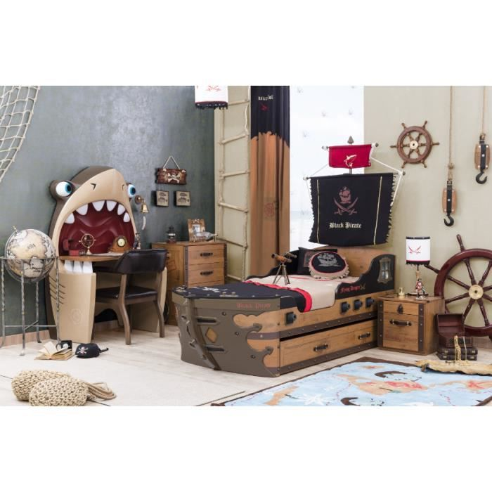 chambre coucher enfant black pirate compl te par ilek. Black Bedroom Furniture Sets. Home Design Ideas