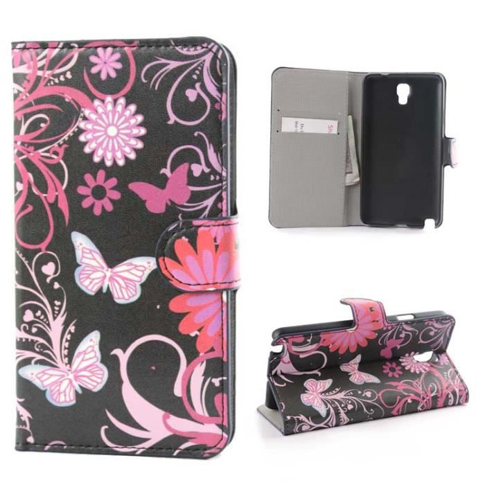 pour samsung galaxy note 3 neo lite n7505 powersave wallet etui coque papillon noir rose style. Black Bedroom Furniture Sets. Home Design Ideas