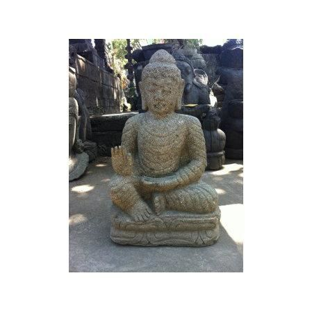 statue en pierre jardin exterieur bouddha zen salut 60 cm achat vente statue statuette. Black Bedroom Furniture Sets. Home Design Ideas