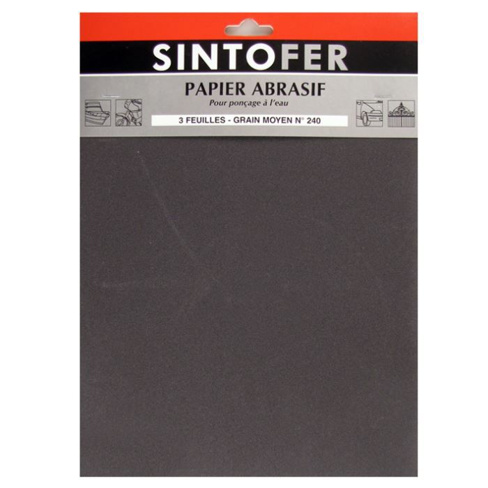 papier abrasif 3 feuilles pour pon age l 39 eau achat vente solvant de nettoyage papier. Black Bedroom Furniture Sets. Home Design Ideas