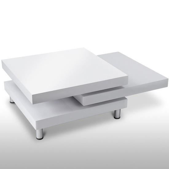 table basse carr e blanche 2 plateaux pivotants achat. Black Bedroom Furniture Sets. Home Design Ideas