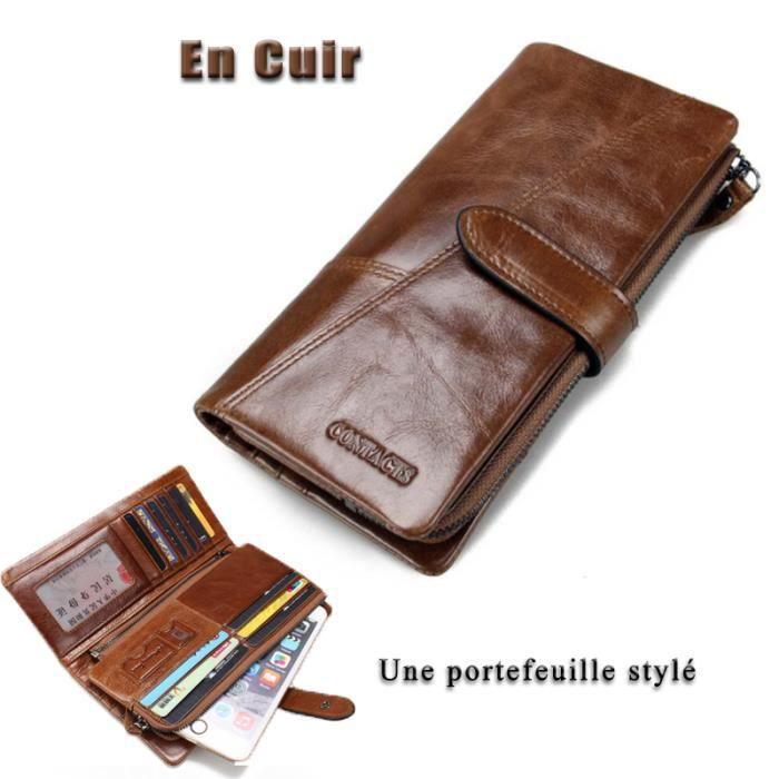 Hommes Hommes Premium Véritable 100/% Cuir Homme Sac Trousse Pochette Porte-Grand portefeuille Purse