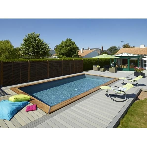 Piscine maeva rectangulaire 8 38 x 4 49 x 1 5 m avec for Piscine 8 par 4