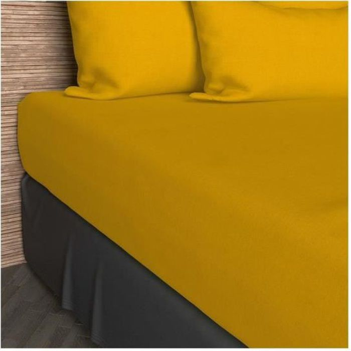 drap housse 160x200 cm coton uni jaune achat vente drap housse cdiscount. Black Bedroom Furniture Sets. Home Design Ideas