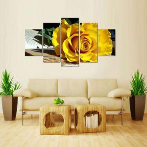 5 pieces Belle décoration image art mur de toile rose jaune