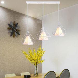 LUSTRE ET SUSPENSION  Lustre Suspension Cage Forme Diamant Ajustable-Lu
