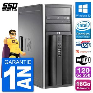 ORDI BUREAU RECONDITIONNÉ PC Tour HP 8200 Intel G630 RAM 16Go SSD 120Go Wind