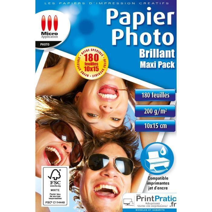 Papier Photo brillant 10x15 - Maxi pack - 200 g/m² - 180 Feuilles