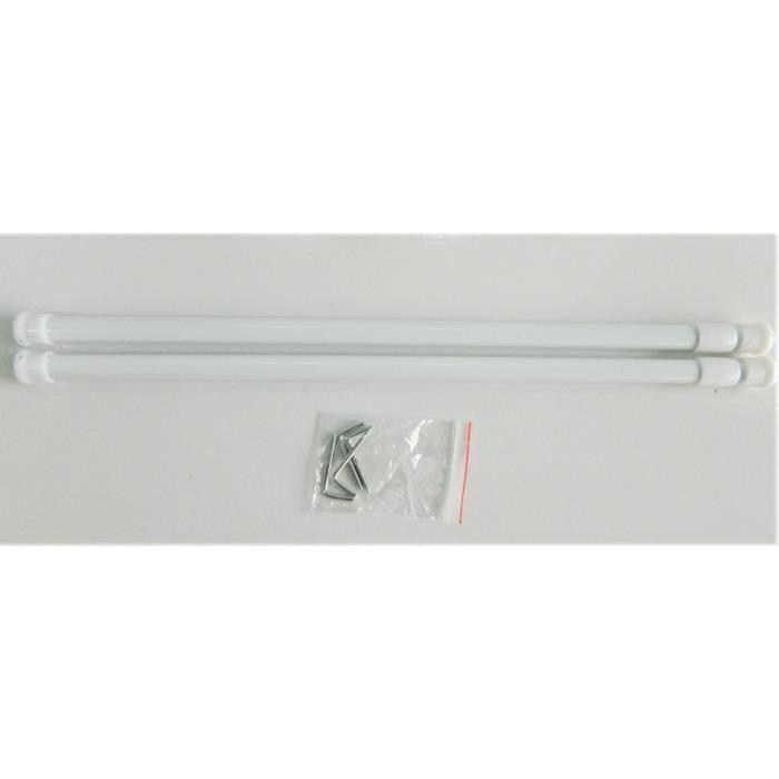 2 Barres à rideau extensibles fenetre - 30 à 50 cm Tringle de vitrage blanc