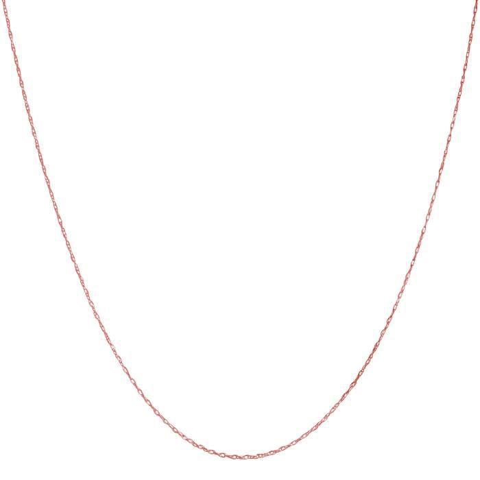 Chaine De Cou Vendue Seule Solide 10k Femmes Jaune, blanc ou or rose chaîne corde 0.8mm mince (14, 16, 18, 20, 22 ou 24 pouces) KP53