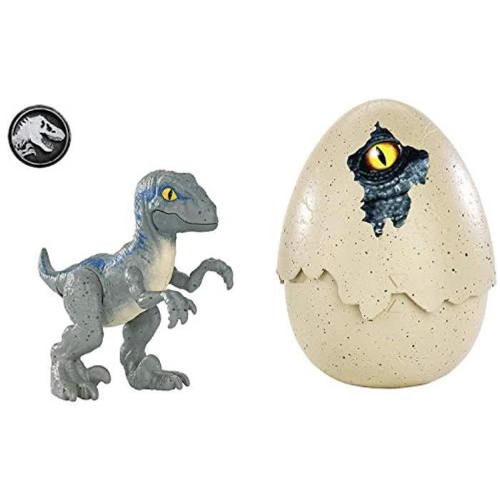 Figurine Miniature I5MTQ Jurassic Hatch Monde « n Play Dinos Velociraptor Bleu