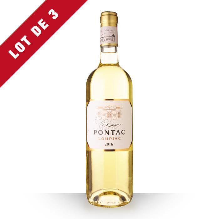 Lot de 3 - Château Pontac 2016 AOC Loupiac - 3x75cl - Vin Blanc