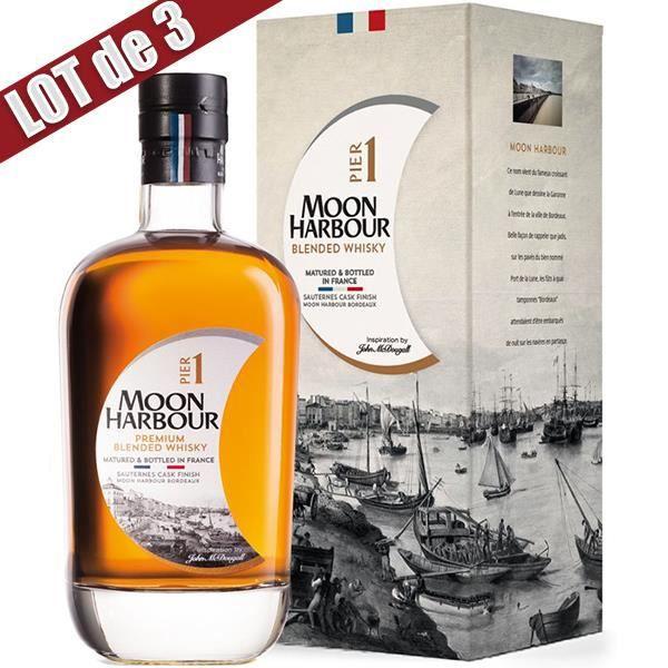 X3 Whisky Moon Harbour Pier 1 Sauternes - 45,8° - 70 cl - Affiné en France