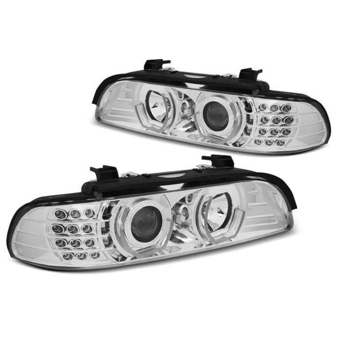 Paire de feux phares BMW serie 5 E39 95-00 Daylight led 3D chrome (M05)