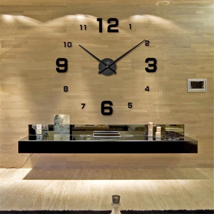 Grande horloge murale 3D - Moderne et Design - Noir