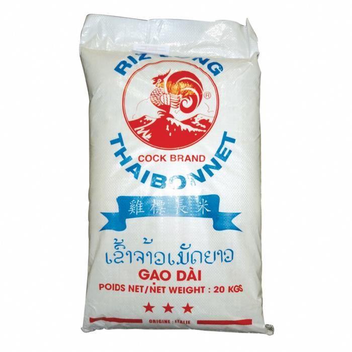 Riz long Thai Thaibonnet Gao Dai - Marque Coq - 20KG