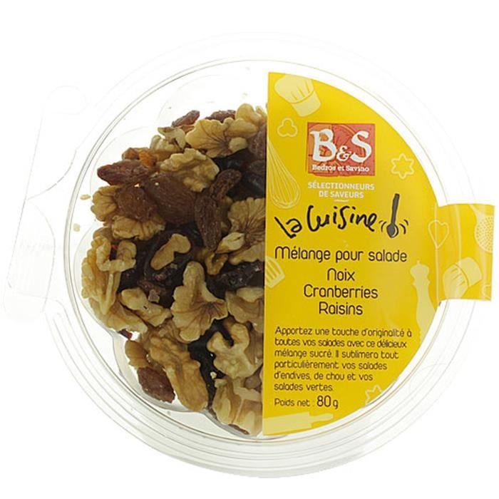 Mélange pour salade noix, cranberries, raisins - B&S - boîte 80g