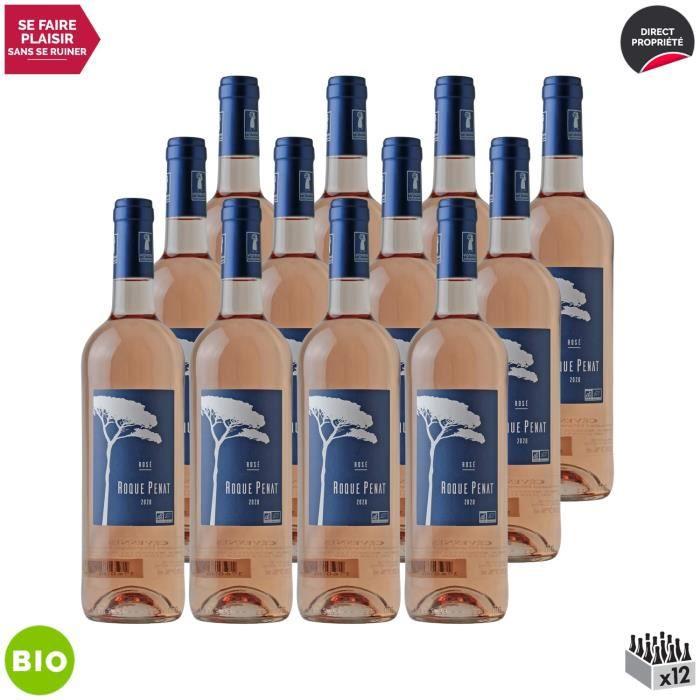 Cévennes Rosé 2020 - Bio - Lot de 12x75cl - Roque Penat - Vin IGP Rosé de la Vallée du Rhône - Cépages Grenache, Niellucciu