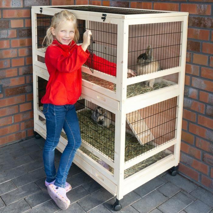 Cage Clapier Enclos lapin Extérieur en Bois Haute Qualité pour lapins 115 x 60 x 118 cm Modèle 046 Câlin