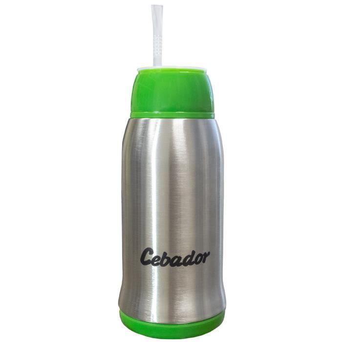Cebador - Yerbomos 3.0 - calebasse, bombilla et bouteille en un ! - Récipient de Yerba Maté 500 ml - Double paroi en acier inox -