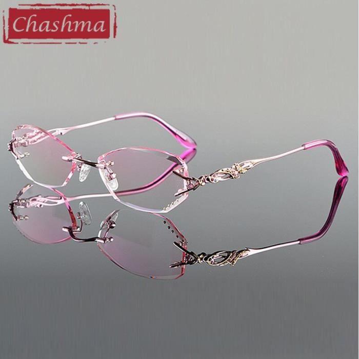 Montures de Lunettes de vue,Chashma lunettes de lecture sans monture Teinte de luxe, verres de myopie coupe de diamant - Type Rose