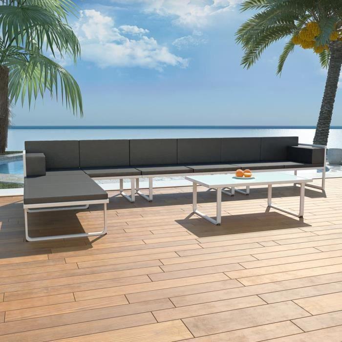 #54457 Ensemble repas de jardin Professionnel - Ensemble Table et Chaise de Jardin 5 pcs - Textilène Aluminium Noir Parfait