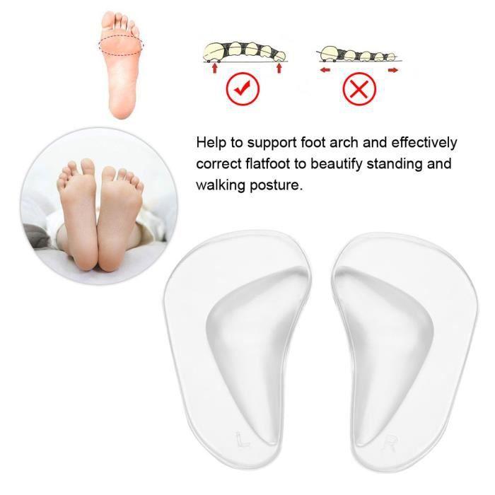 Alomejor Semelles orthopédiques Pieds en silicone orthopédiques Coussin de soutien de la voûte plantaire Coussin de semelles de