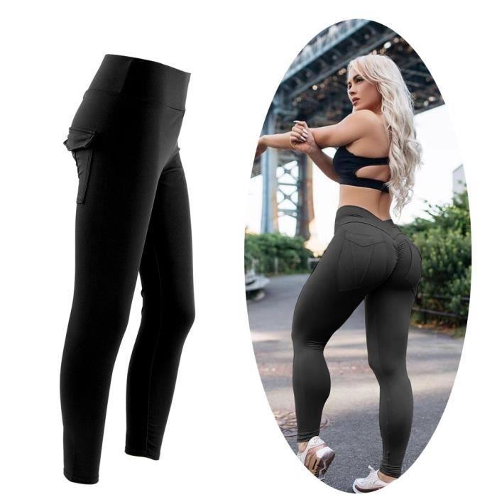 ZJCHAO pantalons de sport Femmes Yoga Gym Pantalon de sport Hip Push Up Leggings Fitness Workout Stretch (Noir XL)
