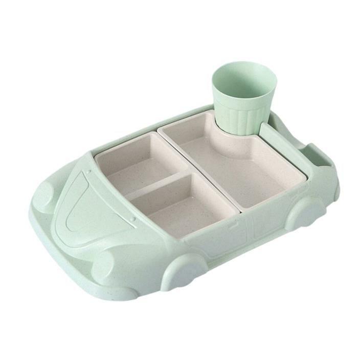 Couverts Bébé,Creative Cartoon voiture assiette bébé vaisselle ensemble bambou Fiber assiette + tasse sous - Type Vert clair#B