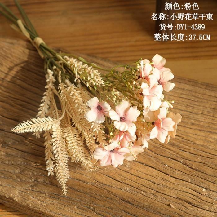 Décoration florale,1 bouquet fleur séchées fausse fleur de fleurs artificielles,plante artificielle fausses plantes - Type PINK