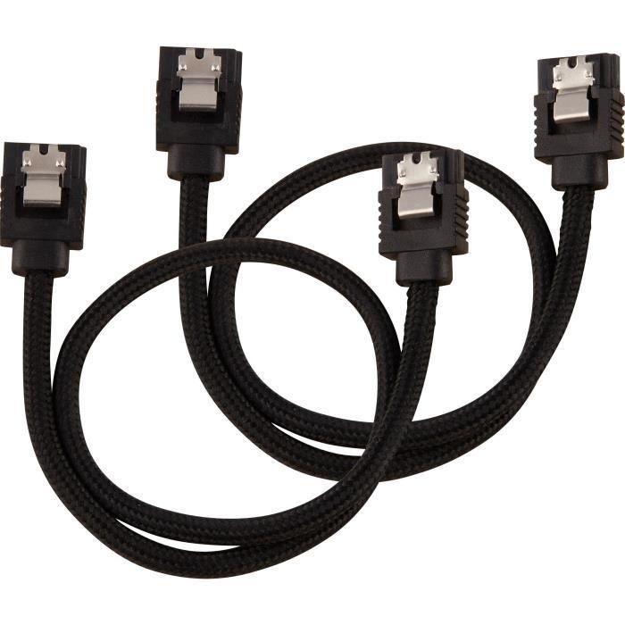 Corsair Câble gainé Premium Sata 6Gbps Noir 30cm Droit (Cc 8900248)