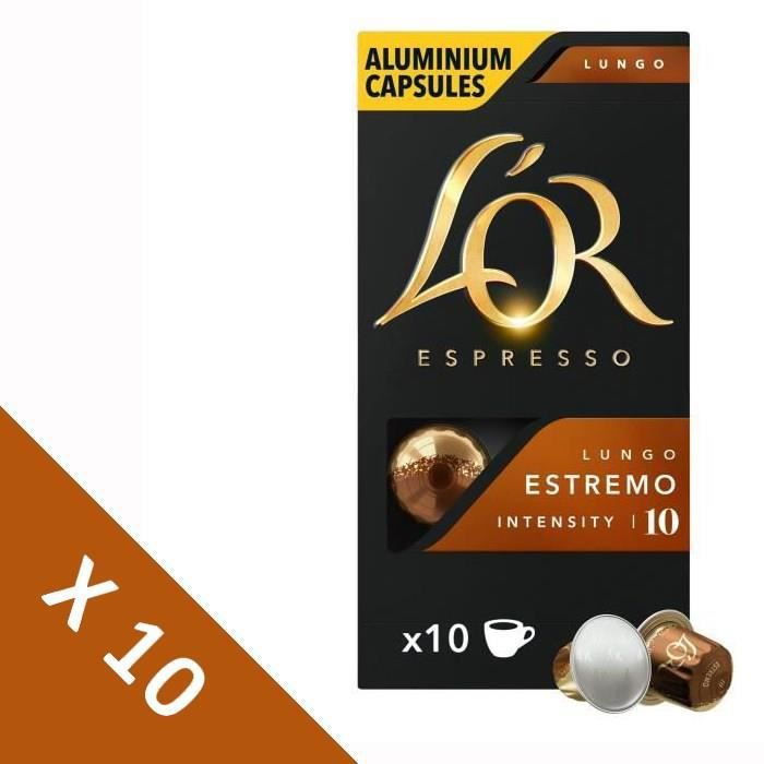 [Lot de 10] Café Capsules L'Or Espresso LUNGO ESTREMO - compatible Nespresso®* - 10 capsules - 52g