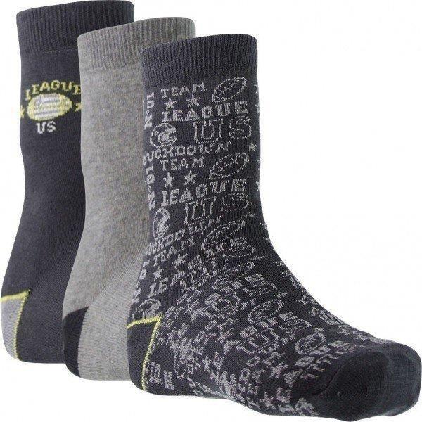 TWINDAY Lot de 3 paires de Chaussettes Garçon Coton LEAGUE US Anthracite Souris