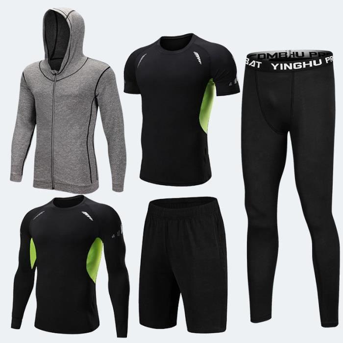 Ensemble tenue de compression homme 5 pcs T shirt manches longues-courtes+Collant Running+Short+Sweatshirt Sport Dry Fitness