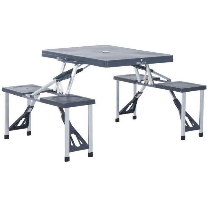 Table de camping pique nique pliante portable 4 personnes aluminium plastique gris foncé 136x84x66cm Gris