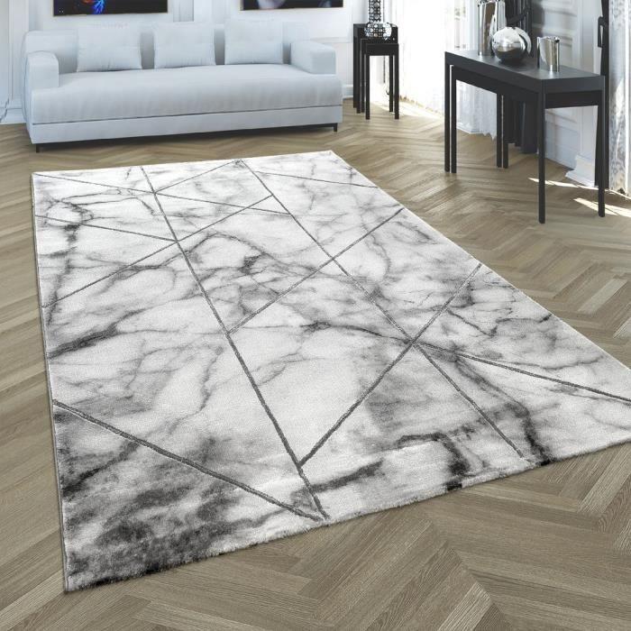 Tapis de salon gris marbre argenté Optiques 3D Design poil court moquette souple de haute qualité [120x170 cm]