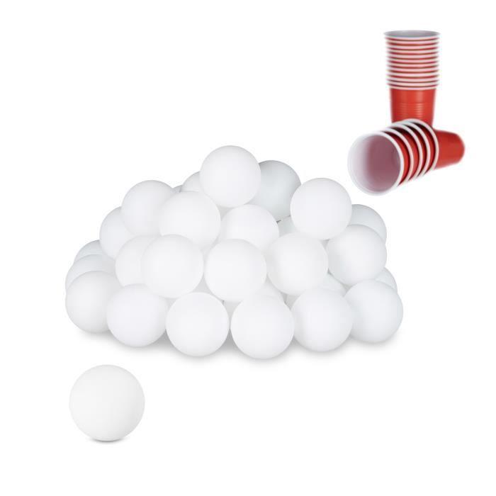 Relaxdays 48 Balles Bière-Pong Balles Ping-Pong Tennis de Table Loto Jeu à Boire Sans Inscription 38mm Plastique Blanc