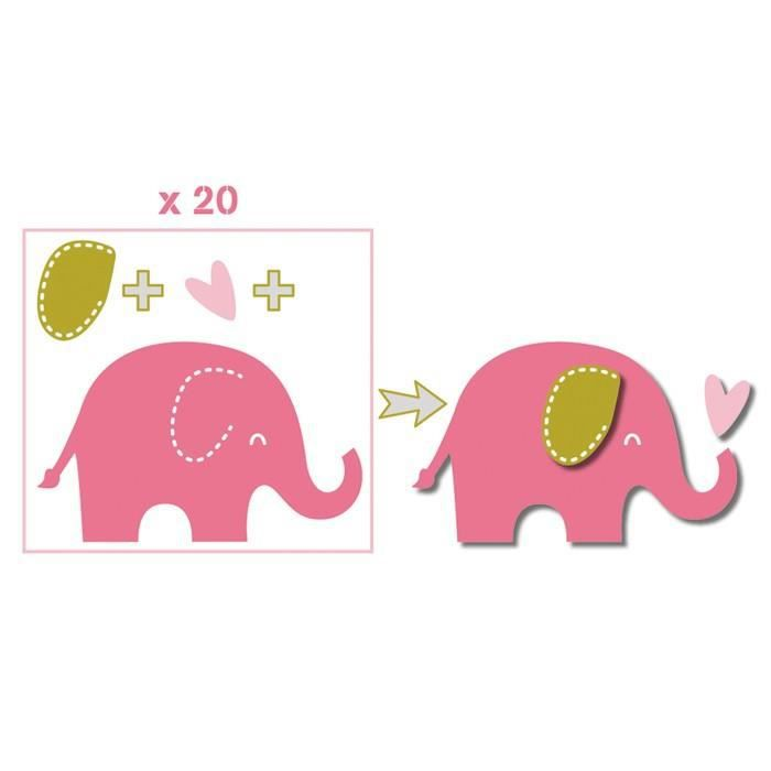 TOGA Pack de 20 Formes découpées Eléphants - Rose, vert et taupe