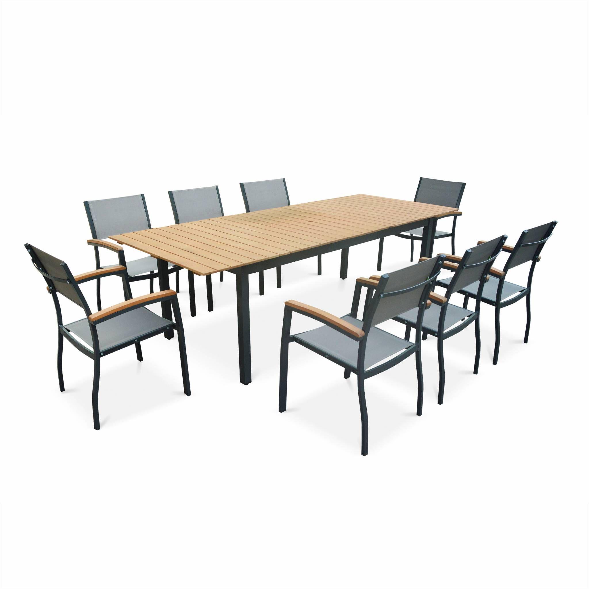 Salon de jardin en bois et aluminium Sevilla, grande table 200-250cm  rectangulaire avec allonge papillon, 8 fauteuils eucalyptus